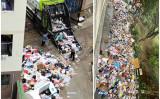 広州理工学院の学生寮の出入り口で大量のゴミが放置されている(取材対象者が提供)