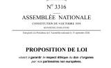 仏議会ウェブサイトに掲載された、「欧州以外のパートナーによる臓器提供の倫理的遵守に関する法律第3316号の提案」(スクリーンショット)
