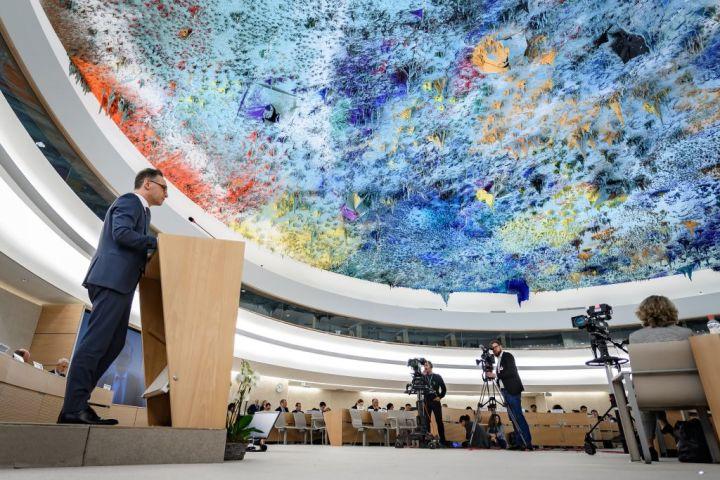 2020年2月、ジュネーブの国連人権理事会で登壇するドイツのハイコ・マース外相(GettyImages)