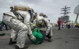 米原子力空母「ロナルド・レーガン」では10月7日、大量死傷者演習が実施された(U.S. Navy photo by Mass Communication Specialist 2nd Class Tyra M. Campbell/Released)