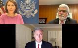 米国務省は10月16日にオンラインビデオ記者会見を開催した。 右上は米国務省の民主主義・人権・労働担当のロバート・デストロ(Robert Destro)次官補、左上は会議の司会者、 下は、人身売買と対策に取り組むジョン・リッチモンド(John Richmond)米国務省大使 (米国務省のビデオのスクリーンショット)