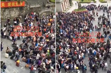 10月20日、中越国境の友誼間に中国人労働者900人以上が押し寄せた(ツイッターよりスクリーンショット)