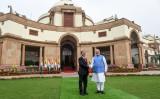 インドのナランデラ・モディ首相は、訪問したミャンマーのウィン・ミン大統領を迎える。2020年2月撮影(GettyImages)