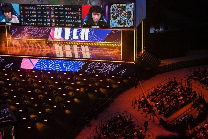 2020年10月30日、上海のサッカースタジアムで、対戦ゲームトーナメントのイベントが行われた(GettyImages)