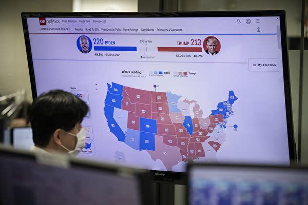 2020年11月4日、東京外為市場で米国大統領選挙の行方を注視する市場関係者(Carl Court/Getty Images)