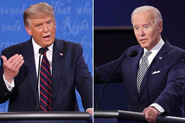 2020年9月29日、テレビ討論会に出席したトランプ米大統領とバイデン前副大統領((Win McNamee-Scott Olson/Getty Images)