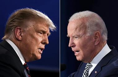 2020年米国大統領選挙候補者のトランプ大統領(左)とバイデン前副大統領(右)(JIM WATSON,SAUL LOEB/AFP via Getty Images)