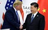 トランプ米大統領は、2019年6月29日に大阪で開催されるG20サミットに合わせた米中首脳会談に先立ち、中国の習近平国家主席と握手を交わした(Brendan Smialowski/AFP via Getty Images)