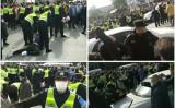 2020年12月19日、中国上海にある昌碩科技の従業員約千人が勤務地の強制移動をめぐって抗議デモを行った(スクリーンショット、大紀元合成)