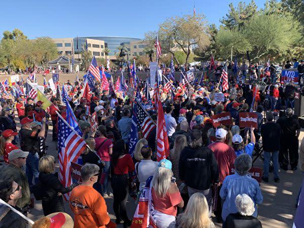 2020年12月19日、米アリゾナ州フェニックスで開催された投票不正の抗議活動に約2000人の住民が参加した(姜琳達/大紀元)
