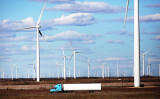 テキサス州コロラド市のウインドファームの風力タービン。2016年1月21日撮影(Spencer Platt/Getty Images)
