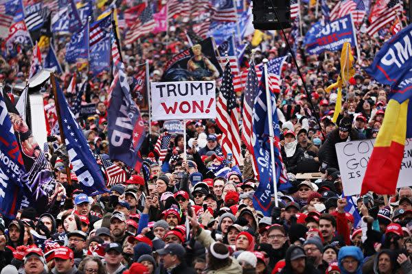 2021年1月6日、米国各地のトランプ大統領支持者がワシントンDCに集まり、大統領選挙の不正疑惑に抗議した(Spencer Platt/Getty Images)