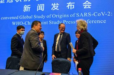 2021年2月9日、世界保健機関 (WHO) の専門家国際チームは中国湖北省武漢市を訪問し、調査について報告会見を行なった。ピーター・ベン・エンバレク氏と梁万年氏、およびマリオン・クープマンス氏が会談する。(HECTOR RETAMAL/AFP via Getty Images)