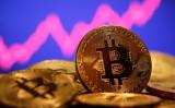 株価チャートを背景に撮影した仮想通貨ビットコイン= 2021年1月8日(Dado Ruvic/File Photo/Reuters)