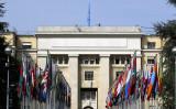 スイスのジュネーブにある国際連合ヨーロッパ本部(パレ・デ・ナシオン)の正面玄関付近からの眺め=2004年5月28日(John Macdougall/AFP via Getty Images)