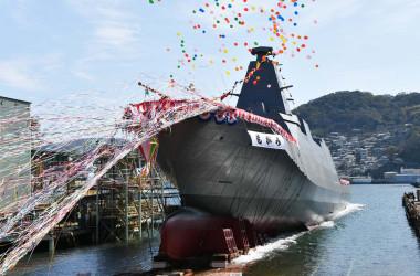 三菱重工業長崎造船所で「もがみ」の進水式が行われた(海上自衛隊公式ツイッターより)