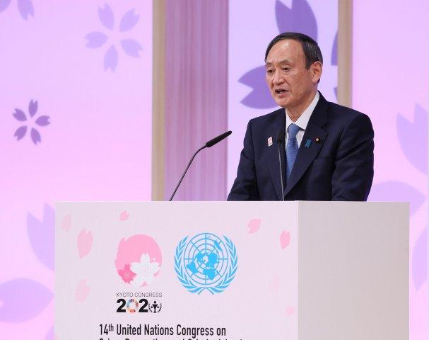 オープニングセレモニーでスピーチをする菅総理大臣(首相官邸公式ツイッターより)