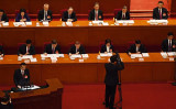 2021年3月5日、全人代で政府活動報告を行う李克強首相が「科学技術イノベーション」に言及した(Leo Ramirez/AFP via Getty Images)