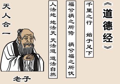 老子は『道徳経』の中で、天、地、人の自然法則を説いた(イラスト=大紀元)