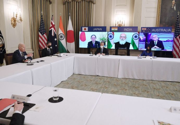 2021年3月12日、4カ国首脳会談(クアッド)はオンライン形式で開催された(Photo by OLIVIER DOULIERY/AFP via Getty Images)
