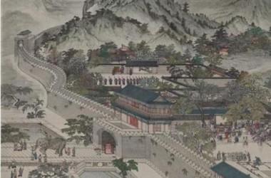 南宋臨安の城門。左下に象を連れた人々が見える。(インターネットより)