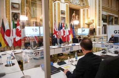 英ロンドンで5月、G7外相会議が開かれた。写真は会議中の7カ国外相たち(GettyImages)