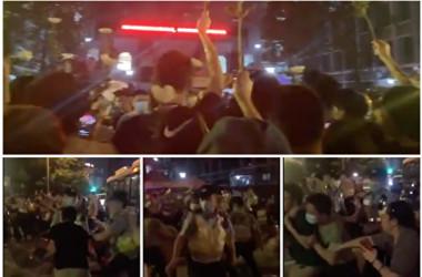 2021年5月11日、中国四川省成都市の第四十九中学校の前で、保護者らは林唯麟君の転落死に関して真相究明を求めた(スクリーンショット)