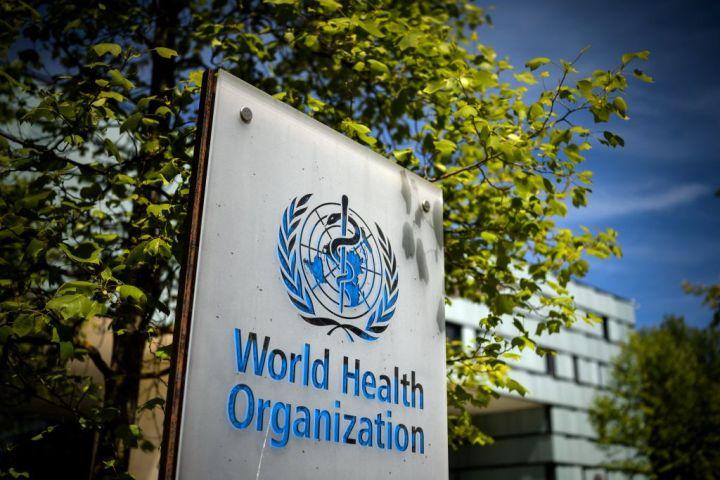 世界保健機関(WHO)本部の入り口にある看板。2021年5月8日撮影 (Photo by FABRICE COFFRINI/AFP via Getty Images)