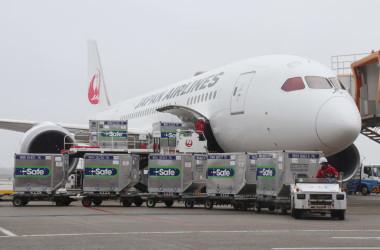 日本から台湾に寄贈したワクチンを積んだ日本航空の飛行機。6月4日撮影(Photo by STR/JIJI PRESS/AFP via Getty Images)