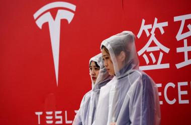 テスラが中国上海に建設を計画していた巨大工場「上海ギガファクトリー」の起工式=2019年1月7日(Aly Song/Reuters)