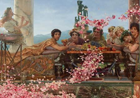 ローレンスアルマタデマ、(Lawrence Alma-Tadema)、「ヘリオガバルスの薔薇」1888年、132x214cm、コレクションプリヴェ、メキシコ。 (パブリックドメイン)