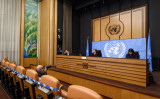 2020年2月27日、スイス・ジュネーブで記者会見に出席する国連人権高等弁務官ミシェル・バチェレ氏。FABRICE COFFRINI/AFP via Getty Images