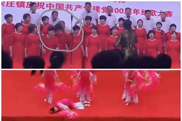 ツイッター上ではこのほど、中国各地で行われた共産党設立100周年祝賀イベントで、出演者が急に倒れた動画が投稿された(スクリーンショット)