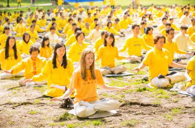 2014年5月10日、ニューヨークのセントラルパークで座禅する法輪功学習者たち(Dai Bing/The Epoch Times)