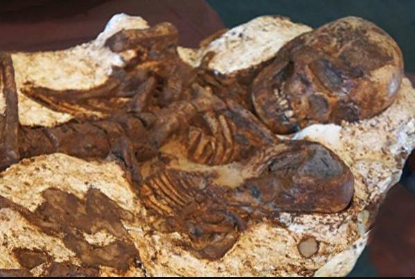 死してなお、我が子を見つめる人骨。それはまさに「慈母の顔」だった。台中安和遺跡で発見された人骨が、約5000年前のものであることがわかった。(台湾国立自然科学博物館提供)