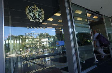 スイスのジュネーブにある世界保健機関(WHO)本部(Photo by Sean Gallup/Getty Images)