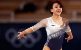 8月2日、東京・有明の体操競技場で開催された東京2020オリンピック競技大会10日目、女子床運動決勝に出場した村上麻衣選手。銅メダルが獲得。 (Photo by Adam Pretty/Getty Images)