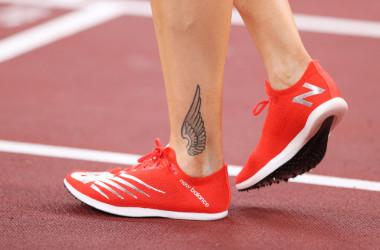 女子800M陸上のサラ・クイビスト選手は、「ニューバランス」のシューズを履いている(Photo by Patrick Smith/Getty Images)