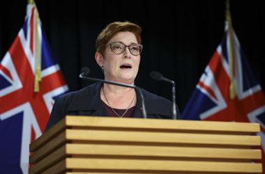2021年4月22日、ニュージーランドを訪問し記者団の取材を受けるオーストラリアのペイン外相(Hagen Hopkins/Getty Images)