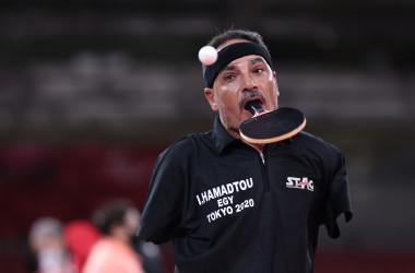 8月25日、エジプトのイブラヒム・エルフセイニ・ハマドゥー選手は東京パラリンピックの男子シングルスに出場した。(Lintao Zhang/Getty Images)