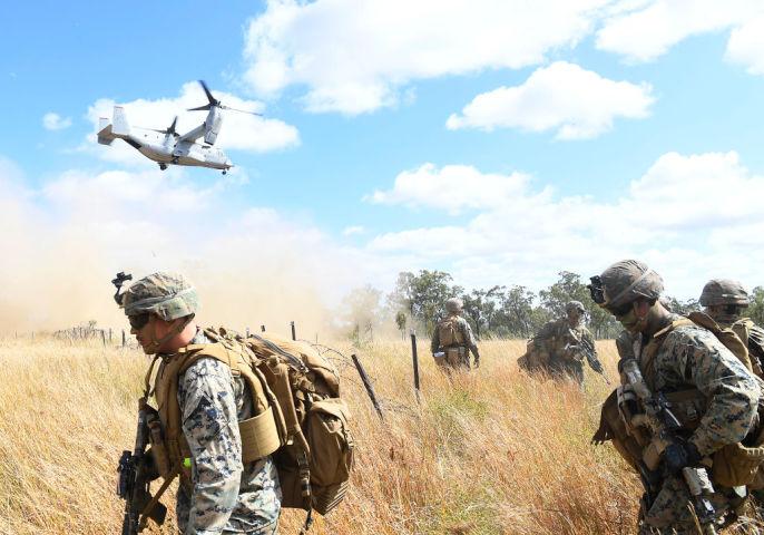 多国間軍事演習「Talisman Sabre 21」に参加する米海兵隊。この演習には自衛隊も参加した。 (Photo by Ian Hitchcock/Getty Images)