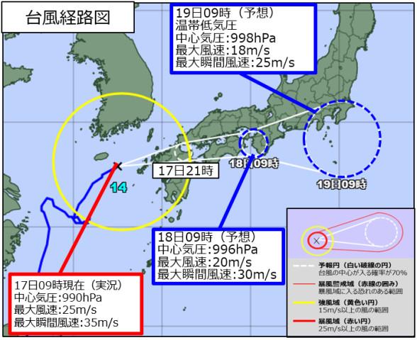 18日9時(予想)台風14号経路図(気象庁防災情報@JMA_bousai)