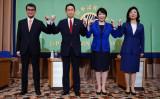 日本記者クラブで会見に臨む4候補。資料写真 (Photo by EUGENE HOSHIKO/POOL/AFP via Getty Images)