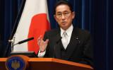 10月4日、記者会見を行う岸田首相(Photo by Toru Hanai - Pool/Getty Images)