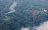 静岡県熱海市の伊豆山で7月4日発生した土石流の起点部分。7月5日撮影 (Photo by STR/JIJI PRESS/AFP via Getty Images)