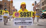 生きた人間から臓器を強制摘出することをやめるよう訴える法輪功学習者 (Chung I Ho/The Epoch Times)