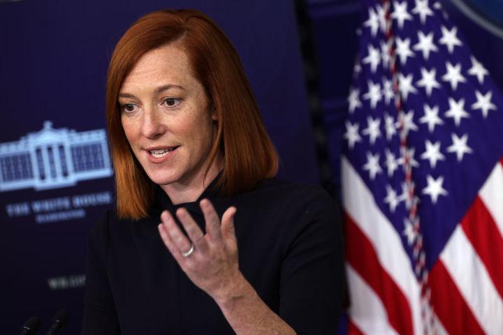 米ホワイトハウスのサキ報道官(Photo by Alex Wong/Getty Images)